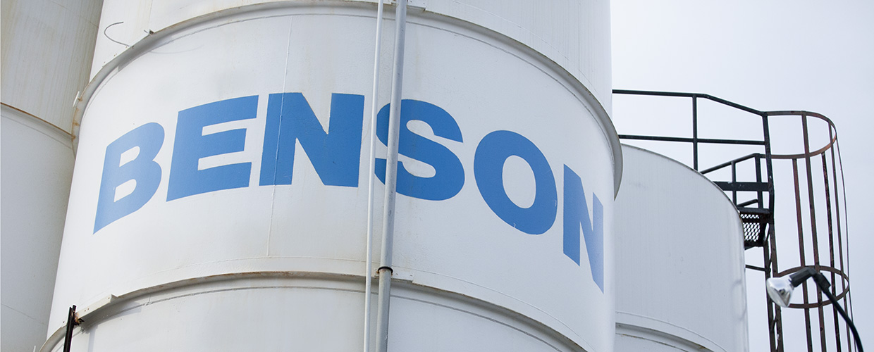 Benson Chemicals Logo on large container
